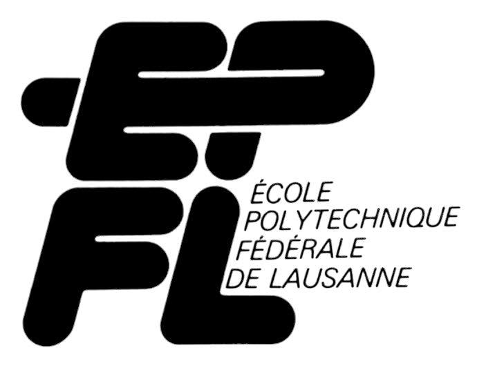 Logo monochrome présentant les lettres du sigle de l'EPFL en deux lignes et avec l'appellation complète de l'école. La typographie est arrondie et la légère inclinaison vers la droite va de pair avec la ligature entre le E et le P.