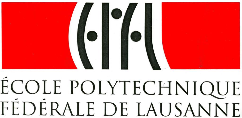 Première version en rouge et noir du logo de l'EPFL en 1993, avec une typographie évoquant le code binaire utilisé en informatique.