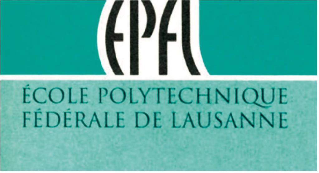 Logo de l'EPFL de 1993 présenté dans une variante turquoise.