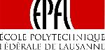 Logo de l'EPFL de 1994 en rouge et noir, avec lettres souples pour le sigle et police Trajane avec empattements pour l'appellation complète de l'institution.