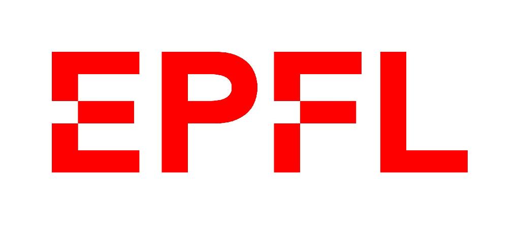 Logo de l'EPFL de 2019, avec quatre lettres rouges en majuscules dans une police Helvetica Neue retravaillée.