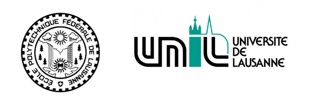 Comparaison du sceau de l'EPFL (1970) et du logo de l'UNIL (1988).