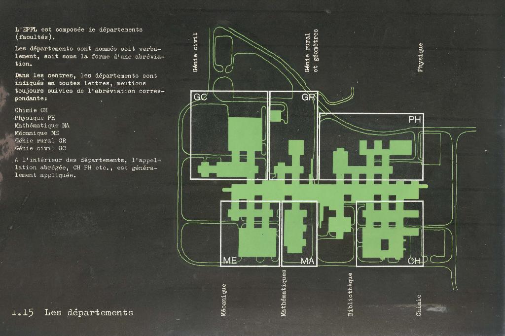 Plan dessiné en vert sur fond noir avec les bâtiments GC, GR, PH, ME, MA et CH encadrés en blanc.