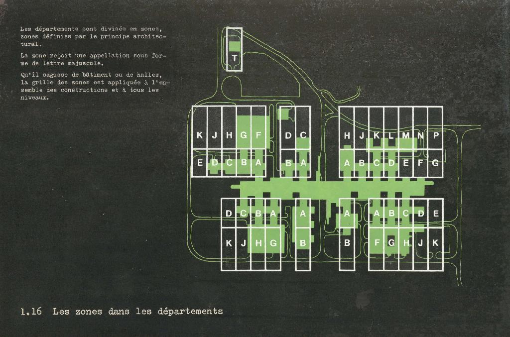 Plan dessiné en vert sur fond noir avec indications des zones.