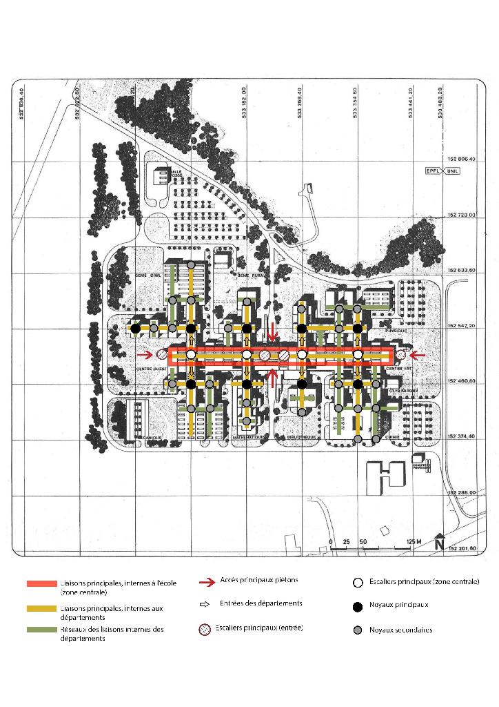 Plan de l'EPFL montrant les principales accès et zones de distribution.
