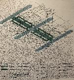 Axonométrie de l'EPFL montrant les principaux axes du plan.