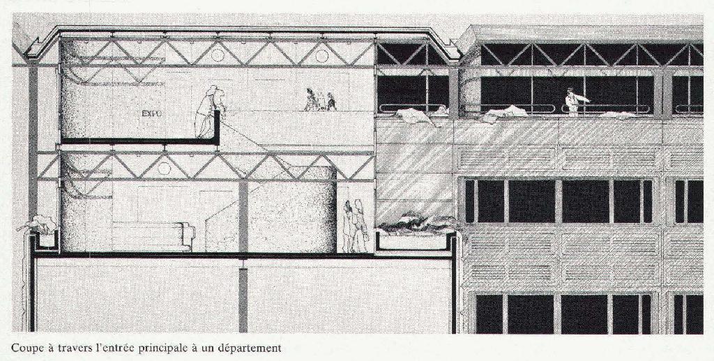 Coupe et vue de la séparation des niveaux de circulation au sein de l'EPFL.