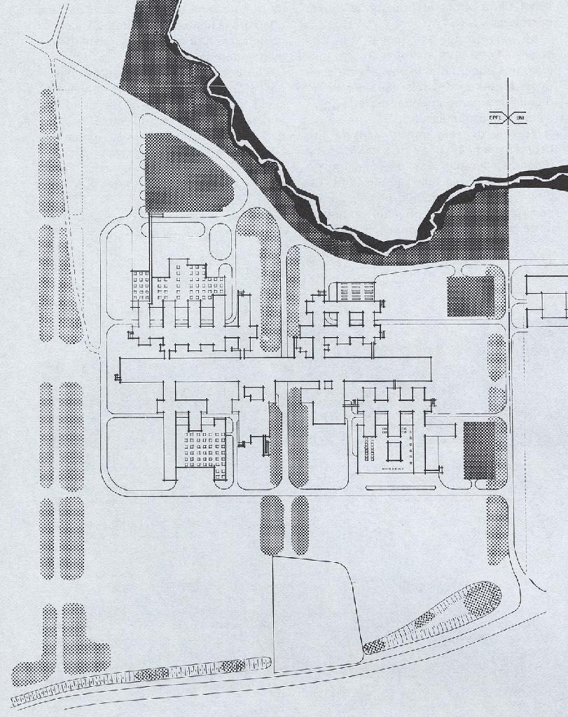 Schéma représentant l'implantation et les abords paysagers du campus. Le bois de la Sorge est prolongé par trois axes verts parallèles.