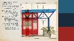 Document d'archive montrant une élévation type des différentes parties de la terrasse, et accompagné des couleurs RAL correspondantes à celles du dessin: 5011 (bleu acier), 3002 (rouge carmin) et 5009 (bleu azur).