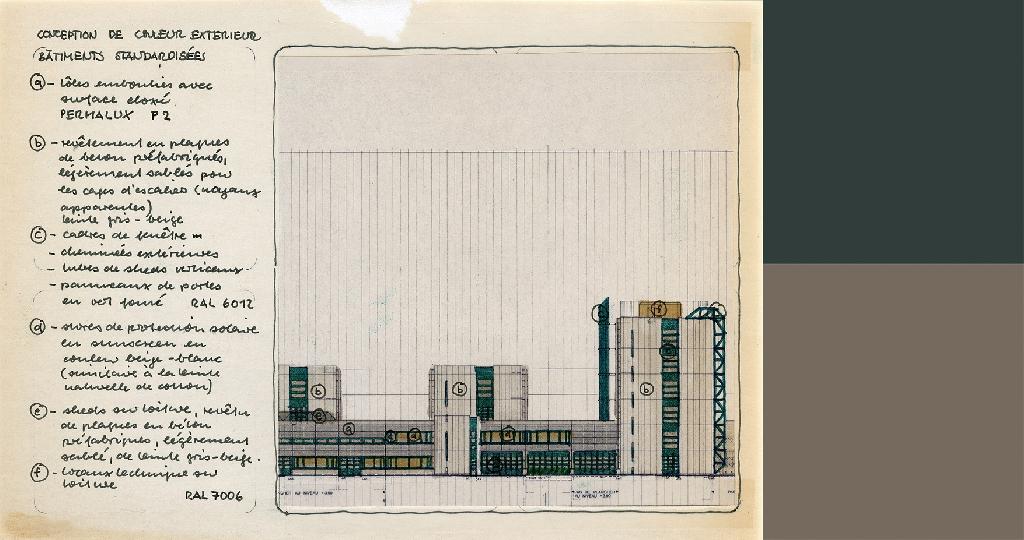 Document d'archive montrant une élévation des bâtiments depuis le côté est, accompagné des couleurs RAL correspondantes à celles du dessin: 6012 (vert noir) et 7006 (gris-beige).