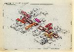 Document d'archive montrant une axonométrie de l'EPFL dont une partie des niveaux supérieurs est colorée des teintes RAL.