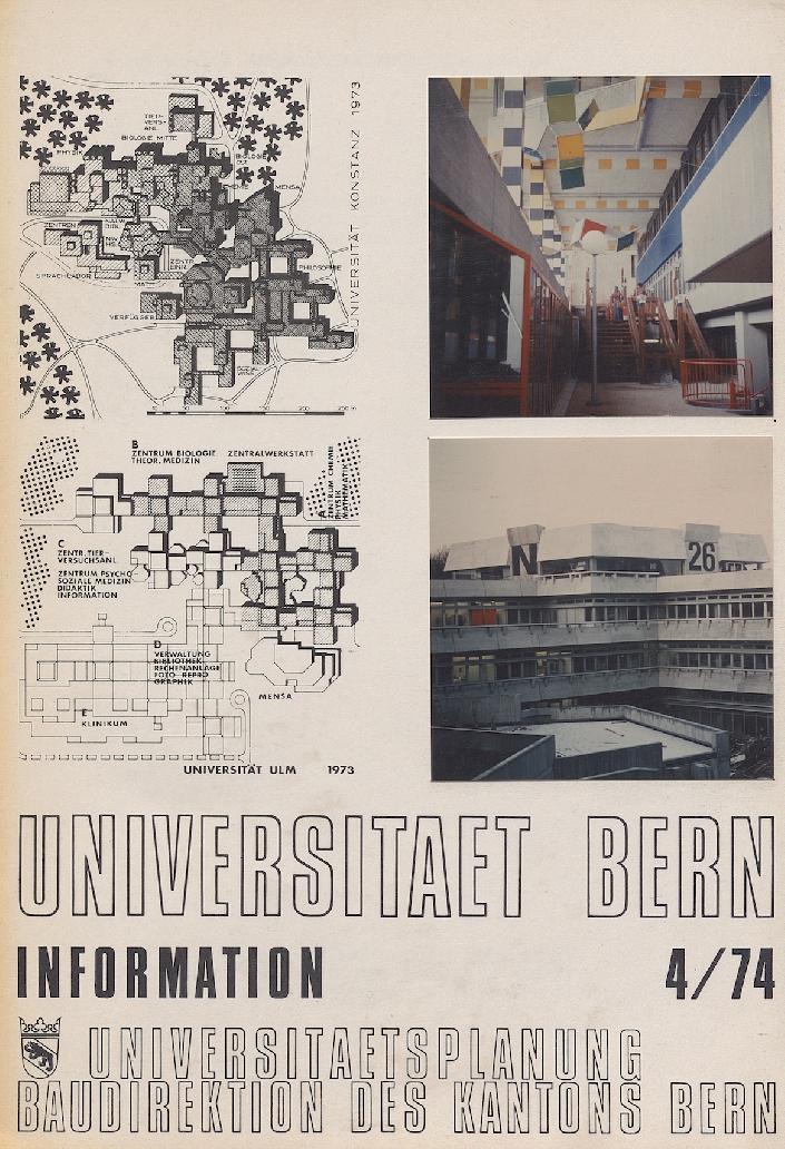 Département de planification universitaire du canton de Berne, brochure d'information sur la construction de l'université de Berne, 1974 (ACV, PP 642/43) Comme à l'EPFL, les plans de l'université de Berne sont fondés sur le principe d'une grille régulière sur laquelle s'implantent les bâtiments.