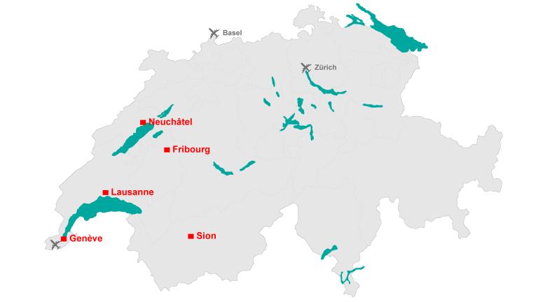Carte des campus de l'EPFL