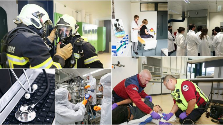 Collage de photos illustrant la sécurité, la prévention et la santé à l'EPFL © EPFL