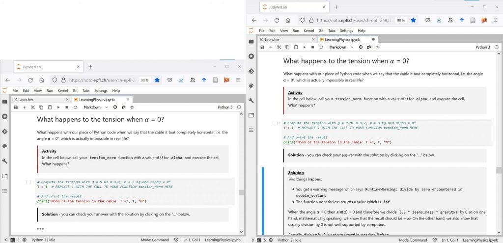 """Jupyter Notebooks - On the left side, an activity with the solution hidden as indicated by the triple dots """"..."""", on the right side the same activity with the solution uncovered."""