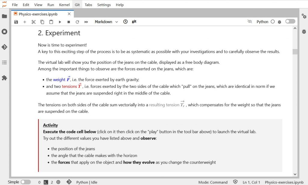 Jupyter Notebooks - Highlighting activities in a notebook exercise worksheet with HTML and CSS