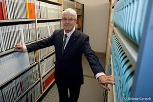 Claude Nobs, founder of the Montreux Jazz Festival, in the corridors of his archive.