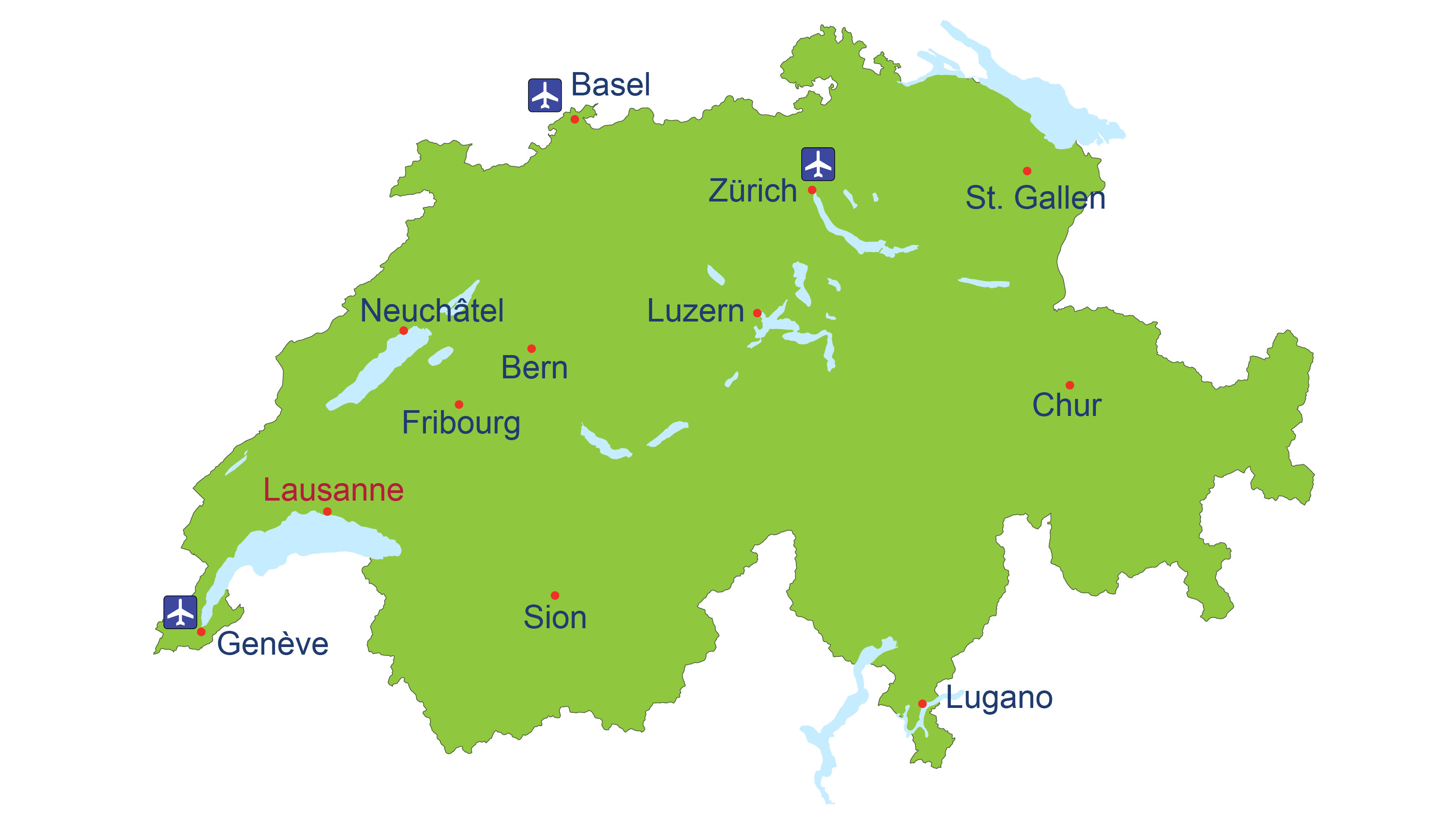 Map of Switzerland with main cities