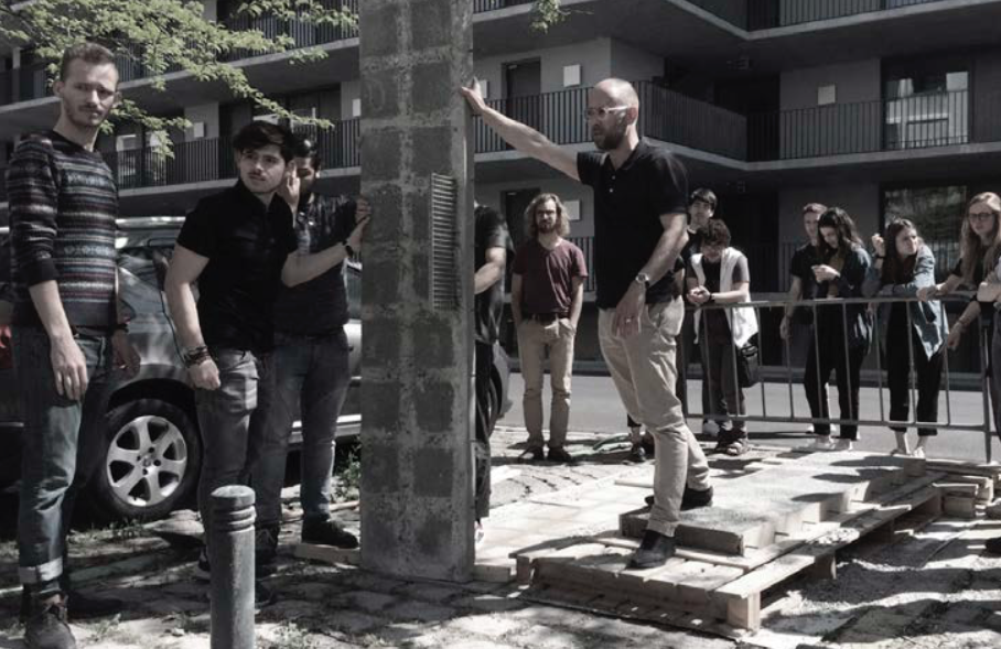 Students testing façade