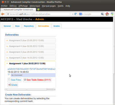 """The """"Deliverables"""" page in the Repository application"""