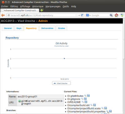 """The """"Repository"""" page in the Repository application"""