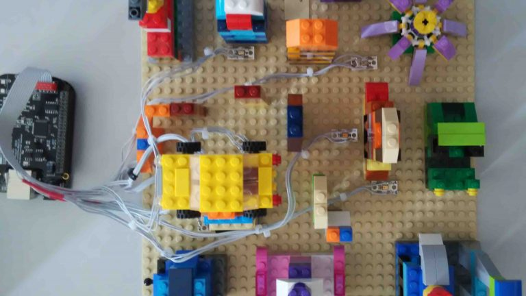 lego structure with multiple microphones
