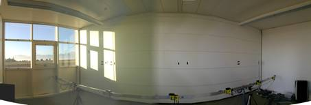 complex fenestration system - inside view of testroom with light sensors
