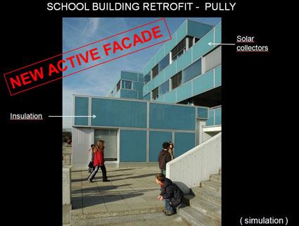 School building with new active facade in blue