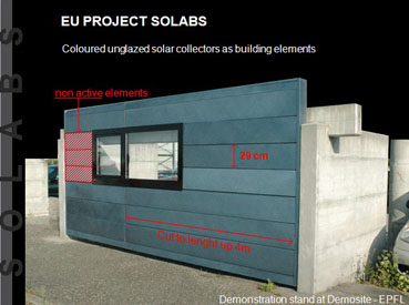 photo of coloured unglazed solar collectors used as building elements on a demonstration module