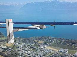 simulated picture solar impulse airplane flying above epfl with lake in Geneva in background