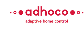 logo adhoco - adaptive home control - red, lower case with 3 dots on either side getting smaller