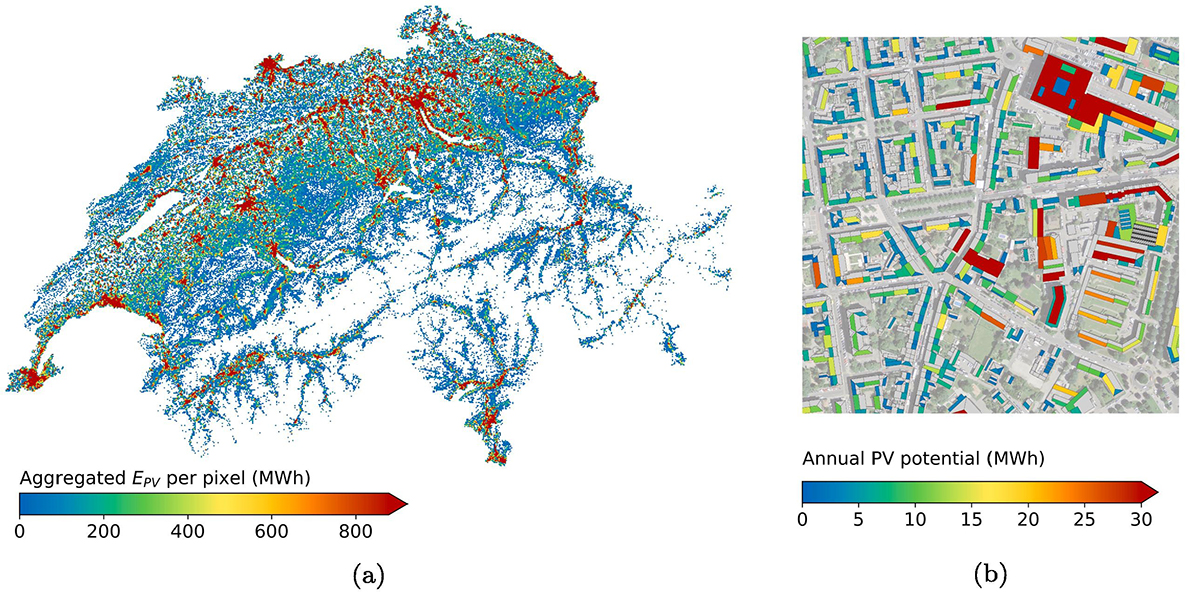 solar potential maps of switzerland and of urban area