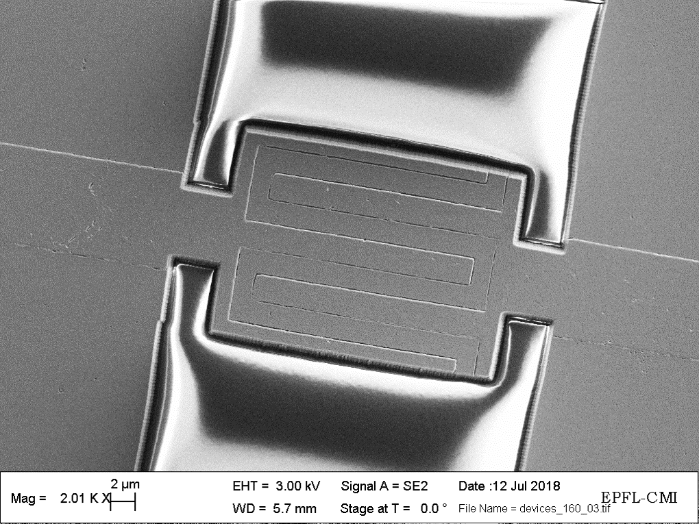 Fig 2: SEM image of a fabricated miniaturize acoustic resonator.