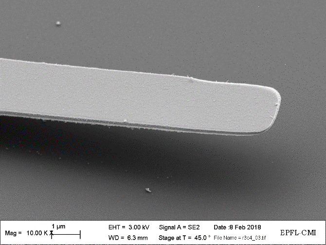 Close-up SEM image of a released cantilever with 100-nm thickness, comprised of molybdenum and hafnium oxide.