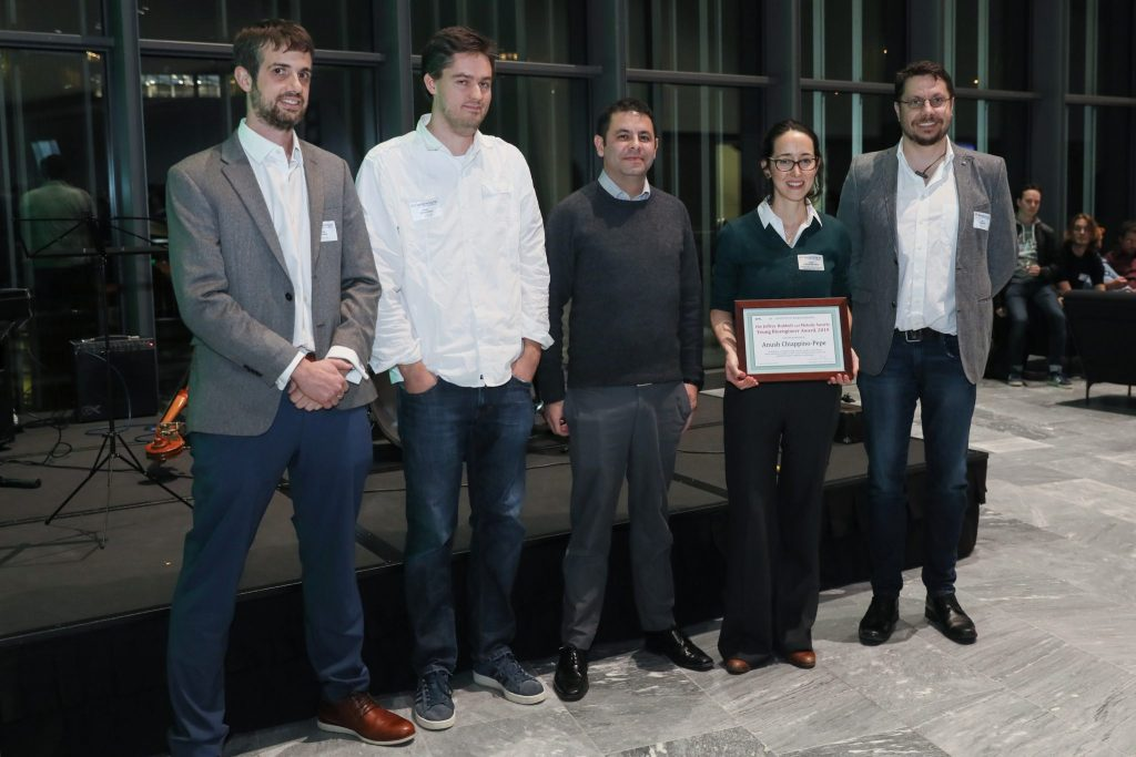 2019 Award finalists (from left to right): Pablo Gainza-Cirauqui, Adrien Descloux, Kamilo Melo, Anush Chiappino-Pepe, with Prof. Georg Fantner, CHairman of the Jury.