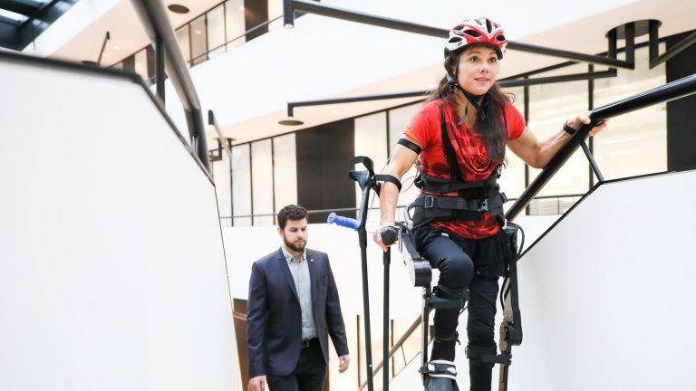 Someone walking with an exoskeleton