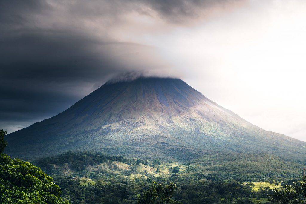 Volcano in Costa Rica with smoke at the top