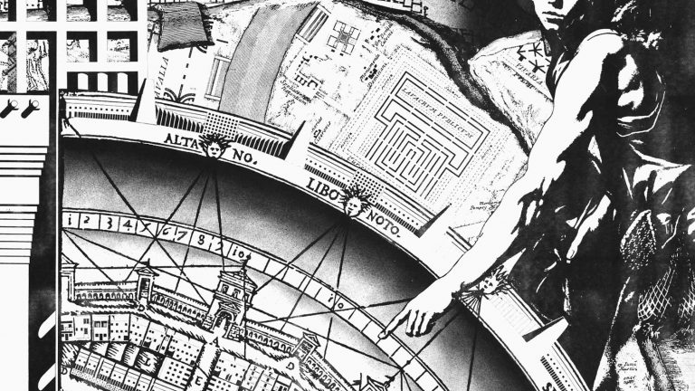 Close up on black and white antique map of Venice