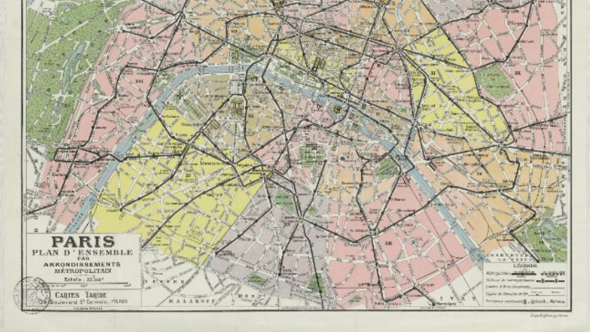 Old map of Paris