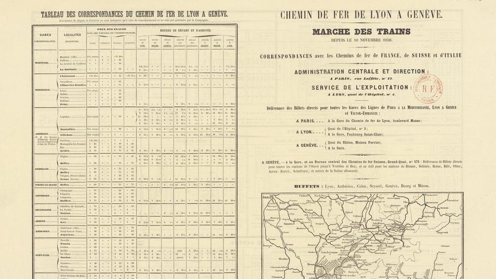 Vintage train timetable