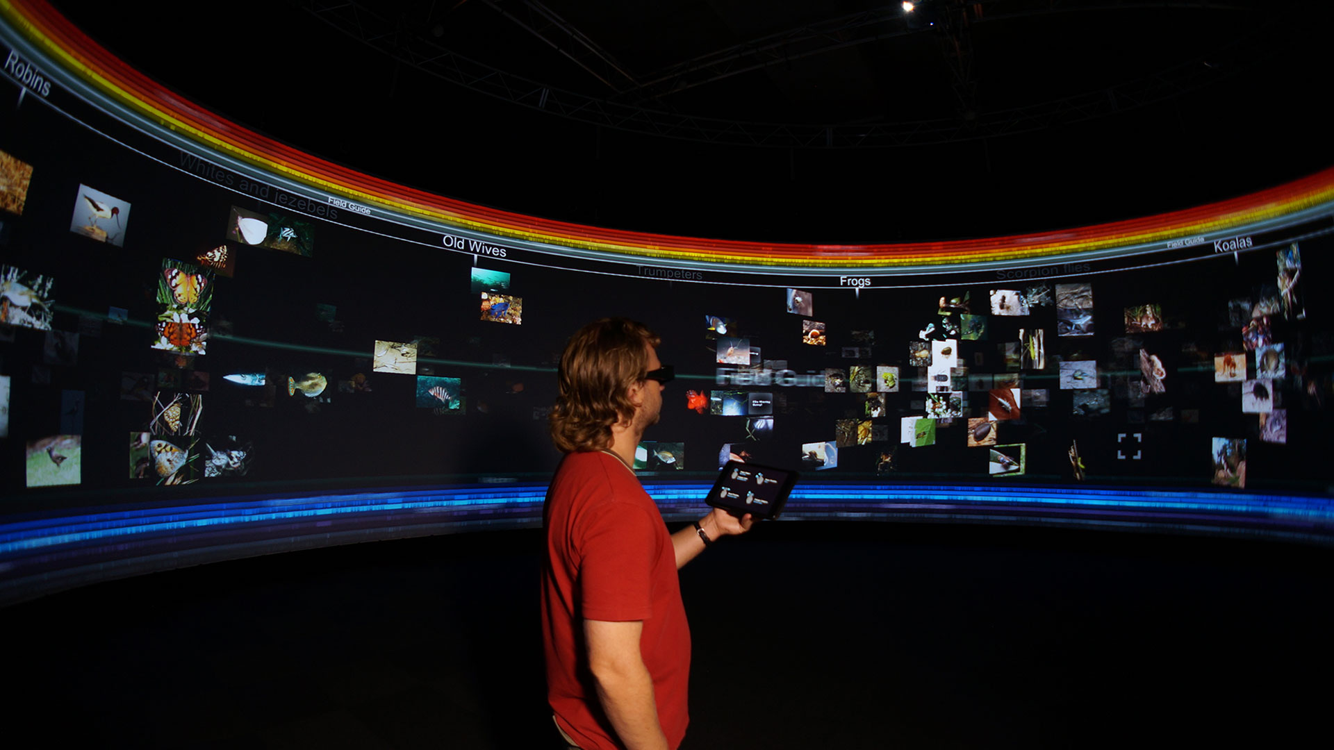Man standing in front of a 360 degree screen