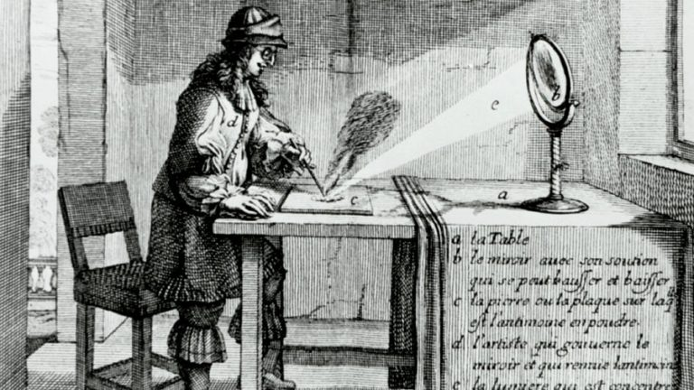 Old image of a man standing at a table