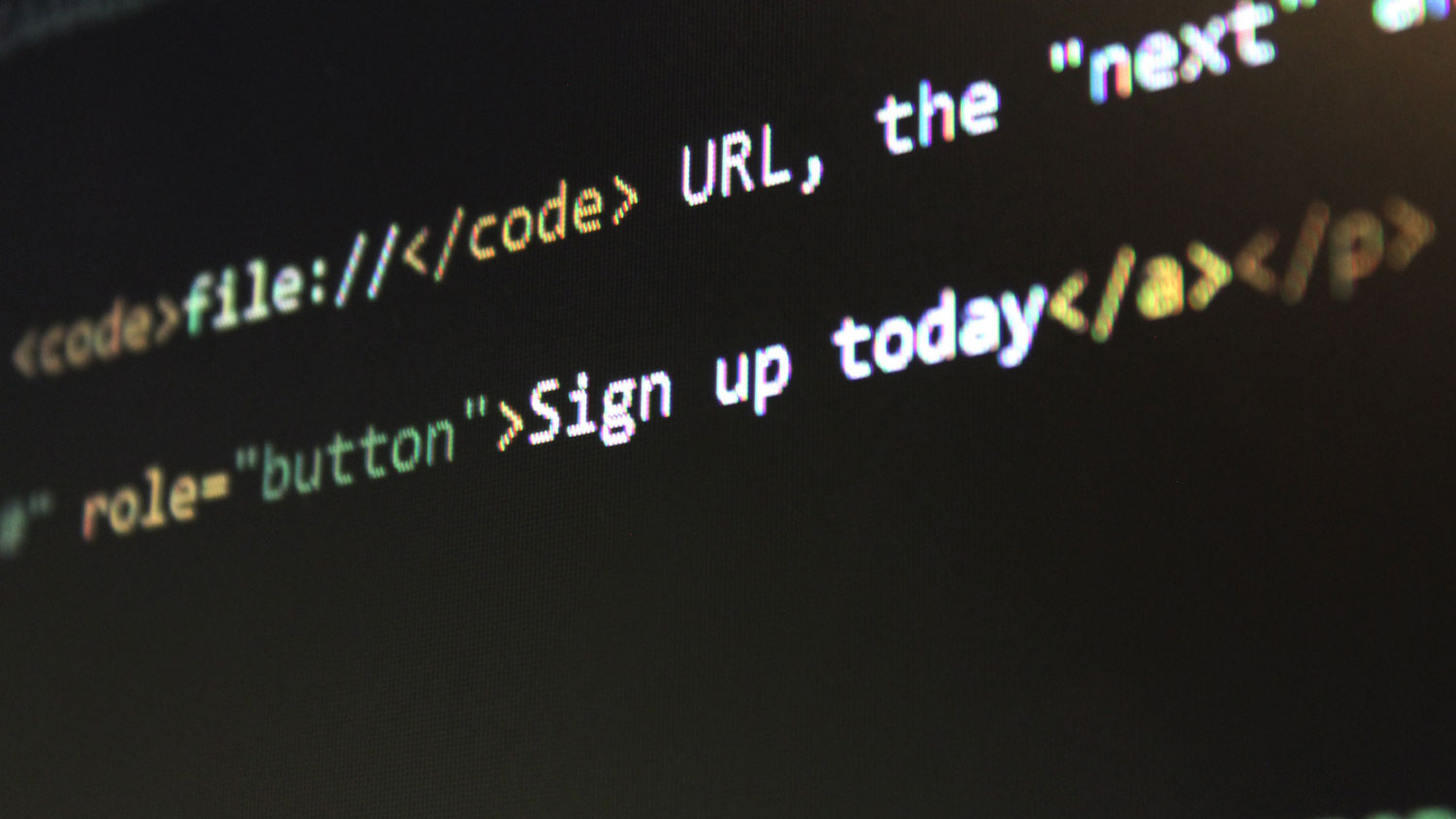 HTML code written sign up today