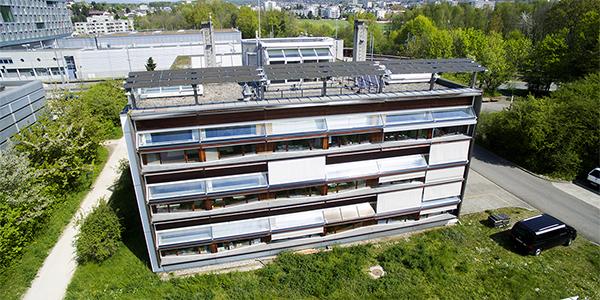 Vue aérienne du bâtiment LESO à l'EPFL © LESO-PB