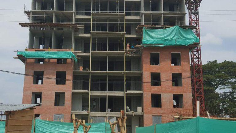 Façade of building in construction