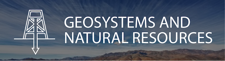 """A blue sky with moutains in the horizon with the title """"Geosystems and natural resources"""" in the foreground."""