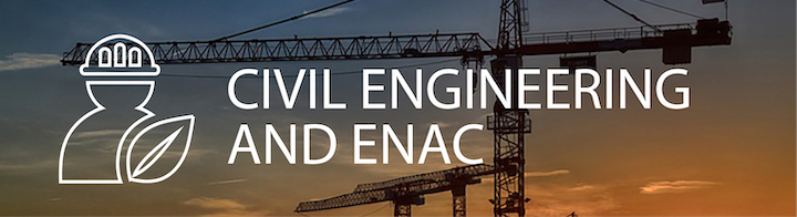 """A construction crane in the sunset with the title """"Civil Engineering and ENAC"""" on the foreground."""