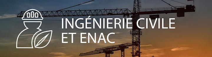 """Une grue devant un coucher de soleil, avec le titre """"Ingénierie civile et ENAC"""" en premier plan."""
