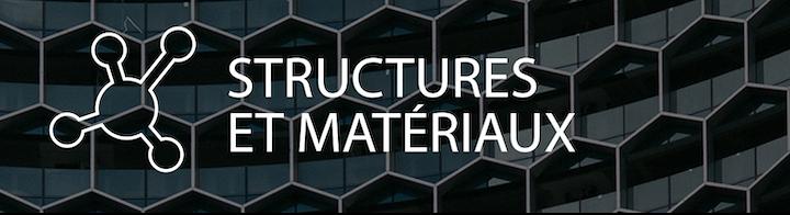 """Façade d'immeuble avec structures en forme de nids d'abeille avec titre """"Structures et matériaux"""" sur le devant."""