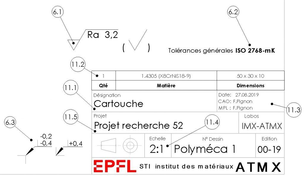 ATMX - Cartouche. Exemple cartouche de dessin d'atelier.